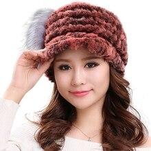 Настоящее кролика рекс мех животных шапки для женщин зимние меховые шапки Теплый вязаный дизайн бейсболки H112