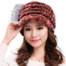 Real rex rabbit fur hats for women winter caps warm knitted design baseball H112