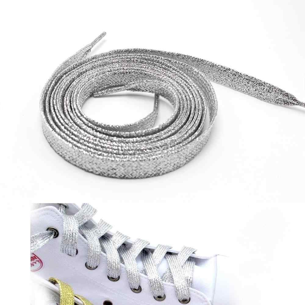3Pair Shiny Gold Silver thread Sport Sneakers FlatShoelaces Bootlaces Shoe laces