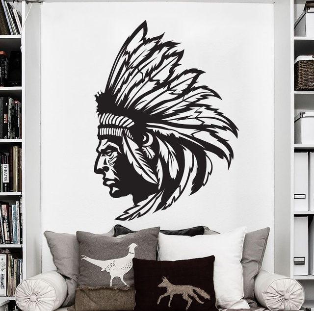 Native American Indian Chief Wall Decal Sticker Decor Art Vinyl Waterproof Wallpaper Home
