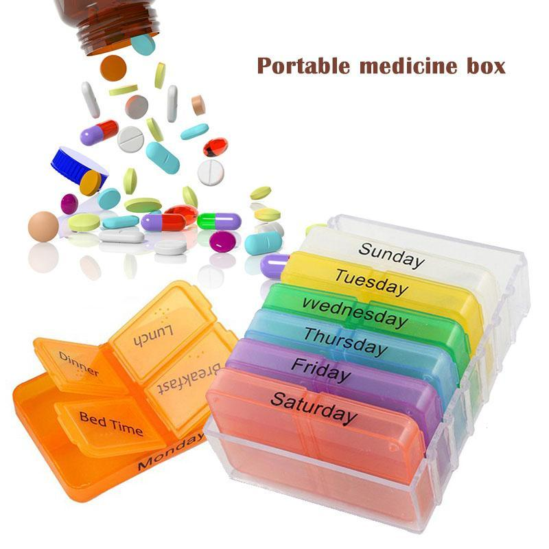 7 Days Compartment Sealed Pill Box 7 Layer Folding Medicine Box Kit Portable One Week Dispenser Time Distribution Reminder R3 ...