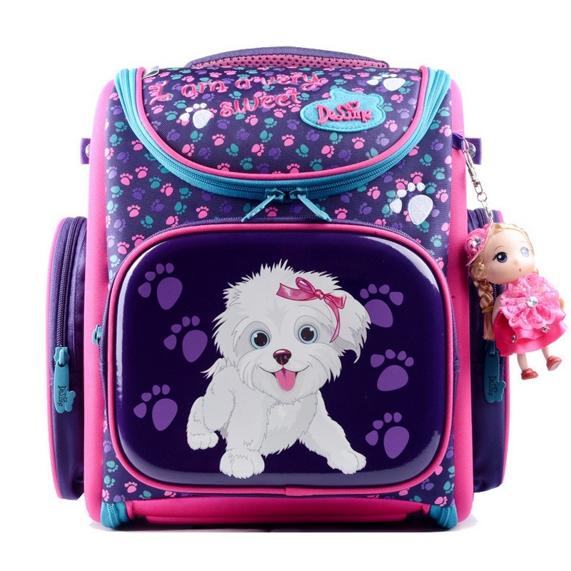 Delune Children Cartoon School Bag Kids EVA Orthopedic Backpack Girls Primary Mochila Dog 3D Print Schoolbag