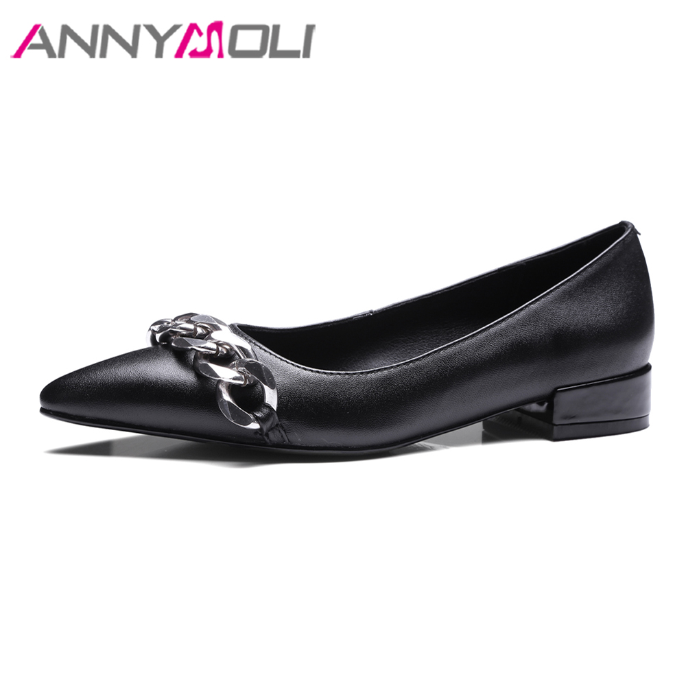 ANNYMOLI Women Pumps Genuine Leather Shoes Low Heels Chain Casual Shoes Spring 2018 Slip On Pointed Toe Pumps Black Shoes Female nayiduyun women casual shoes low top platform wedge high heels boots round toe slip on pumps punk chic shoes black white sneaker