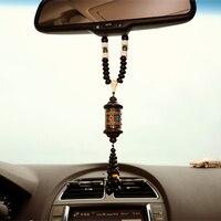 Ornamento do carro pingente budismo pêssego escultura contas de madeira espelho retrovisor automático guarnição decoração acessório pendurado carro estilo presente|Ornamentos|   -