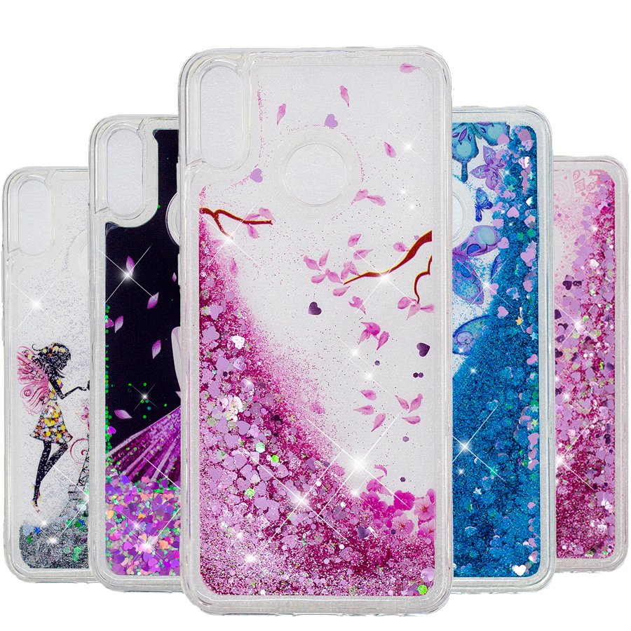 Y6(2019)Glitter Liquid case For Huawei Y6 2019 case cover For Huawei honor 8A case Y 6 Y6 2019 Silicone coque TPU Soft Phone Bag