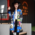 Женщины Весна Осень печати куртка женщин Новая мода долго набивным Рисунком Бейсбол равномерное женский с длинным рукавом свободные куртки LX6058