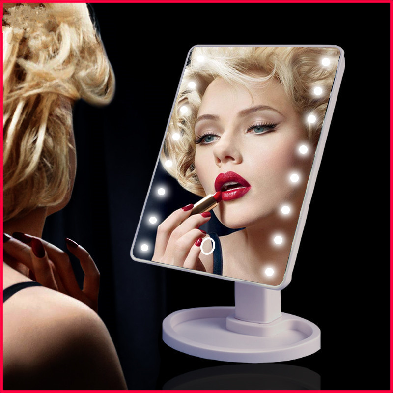360 Degree Rotation Led Touch Screen Make Up Mirror Cosmetic Folding Portable Compact Pocket With 16/22 LED Lights Makeup Tool