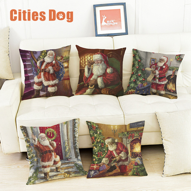 decorative pillows cushion oil painting christmas old man christmas decorations for home pillow cushions decor almofadas - Christmas Decorative Pillows