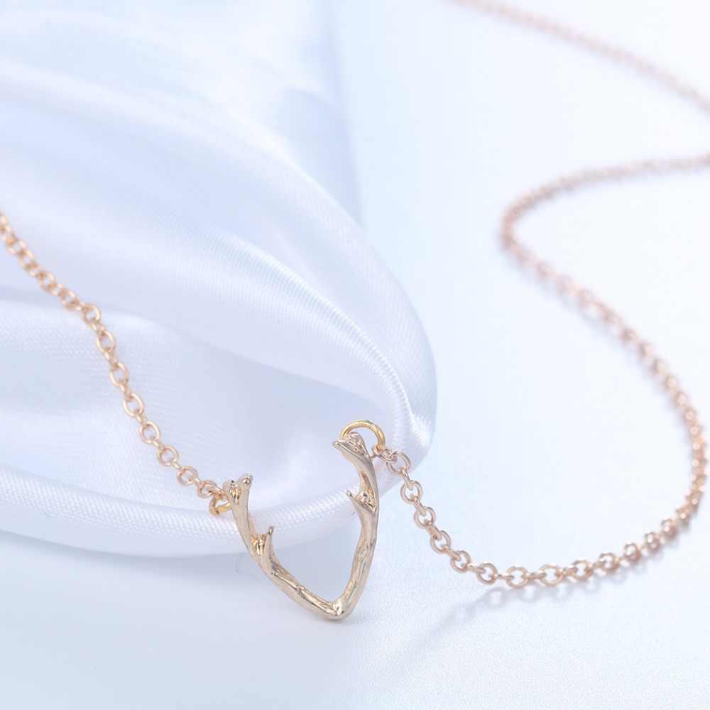 QIMING металлические рога рождественское Ожерелье Серебро Золото Олень Рог кулон минимализм модные ювелирные аксессуары колье в стиле бохо женщин