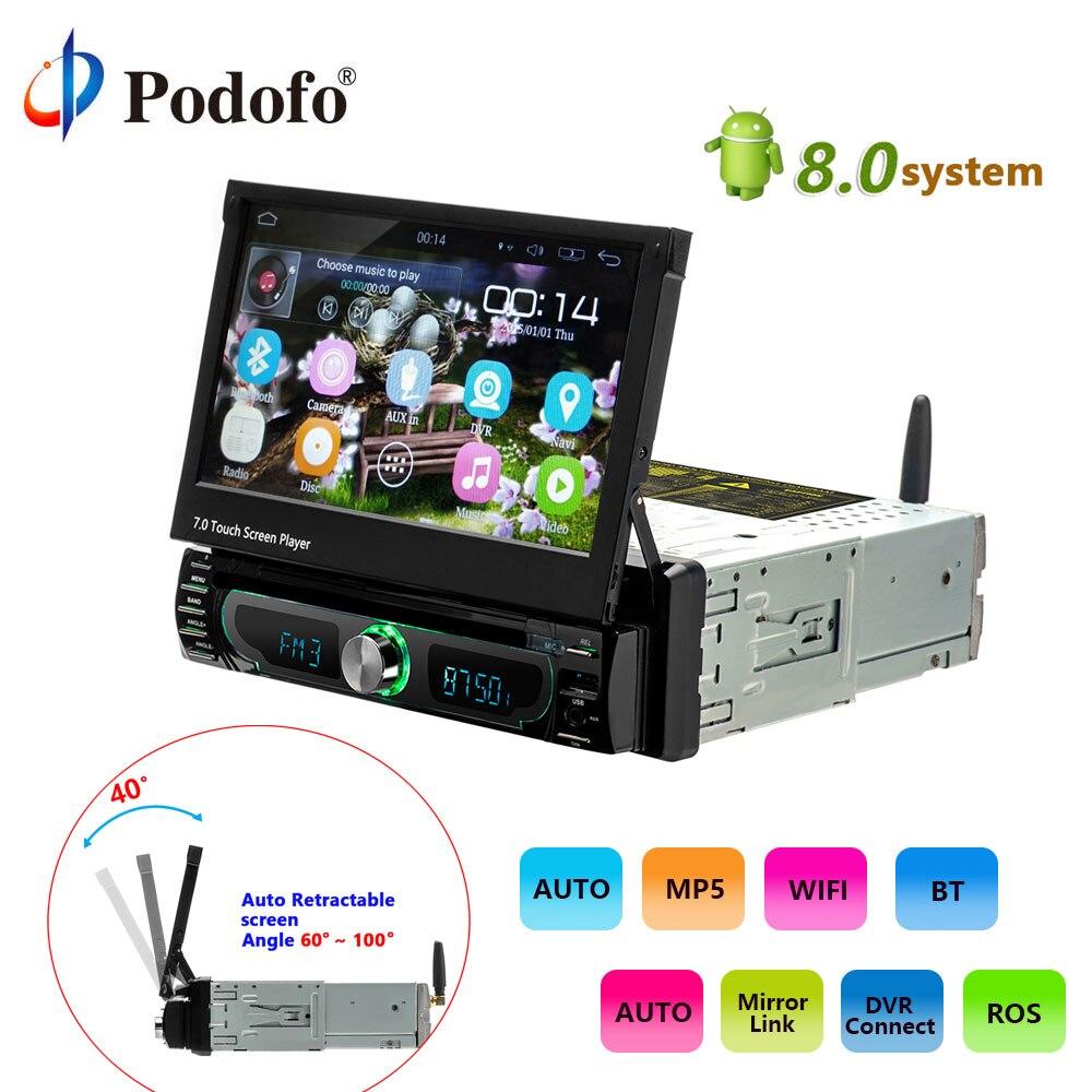 Podofo 1 din Autoradio lecteur Auto Rétractable écran Android 8.0 wifi Voiture lecteur Multimédia Écran Tactile Autoradio DVD de Voiture jouer