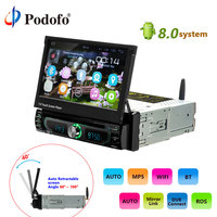 Podofo 1 din reproductor de Radio para coche pantalla retráctil automática Android 8,0 wifi coche reproductor Multimedia pantalla táctil Autoradio coche DVD jugar