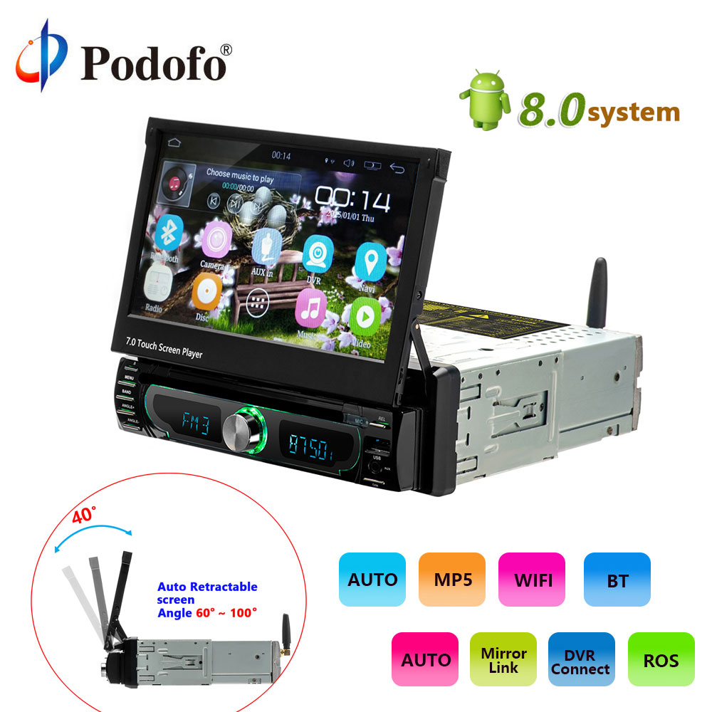 Podofo 1 din Car Radio player Auto Retractable screen Android 8.0 wifi Car Multimedia player Touch Screen Autoradio Car DVD Play image