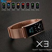 Men Women Smart Watch Gold IP68 Waterproof Blood Pressure Stainless Steel X3 Wrist Band Sport Silicon Luxury Brand Tracker Watch