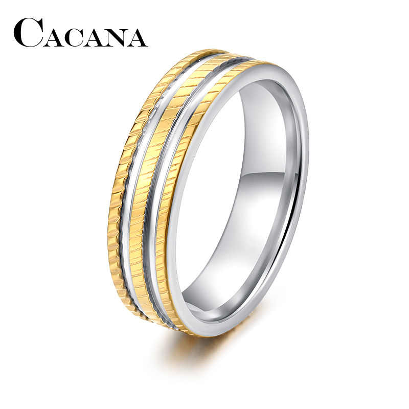 CACANA  Stainless Steel Rings For Women Men Three Circles Sculpture Engagement Personalized Custom Fashion Jewelry Rings