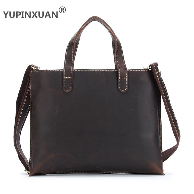 YUPINXUAN Crazy Luxury Horse Leather Handbags for Women Cow Leather Shoulder Bags Large Capacity Totes Female Vintage Hand Bags yupinxuan dark brown crazy horse leather handbags men first layer cow leather messenger bags high capacity leather shoulder bags