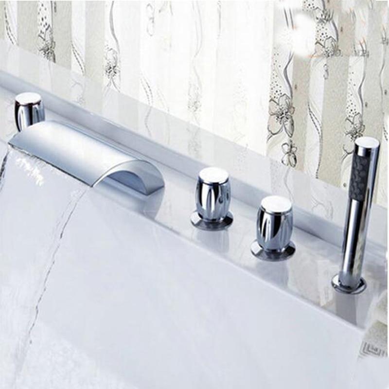 Deck Mounted Waterfall Roman Bathroom Tub Faucet Hand Shower Sprayer Mixer Tap new chrome deck mounted waterfall bathroom tub faucet with hand shower mixer tap