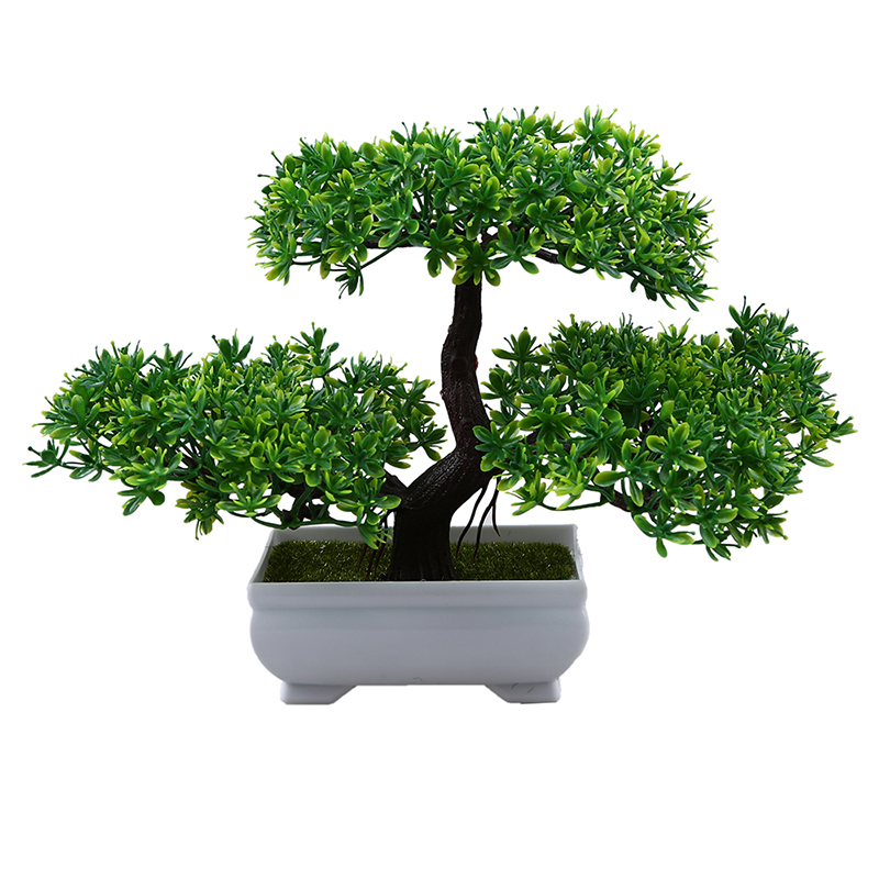 WHISM Artificial Bonsai Tree Welcoming Plant Fake Flower Green Plant Simulation Pine Trees Flower Pot Wedding Home Decoration