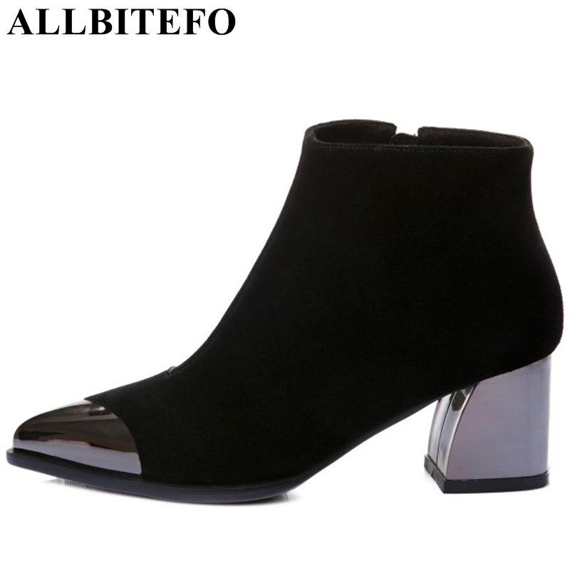 ALLBITEFO/с металлическим носком натуральная кожа с острым носком Женщины 39 S модные брендовые средний каблук зимние Девушки Ботинки martin ботиль...
