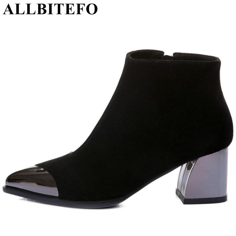 ALLBITEFO metal toe genuine leather pointed toe thick heel women boots fashion brand medium heel winter boots ankle boots woman