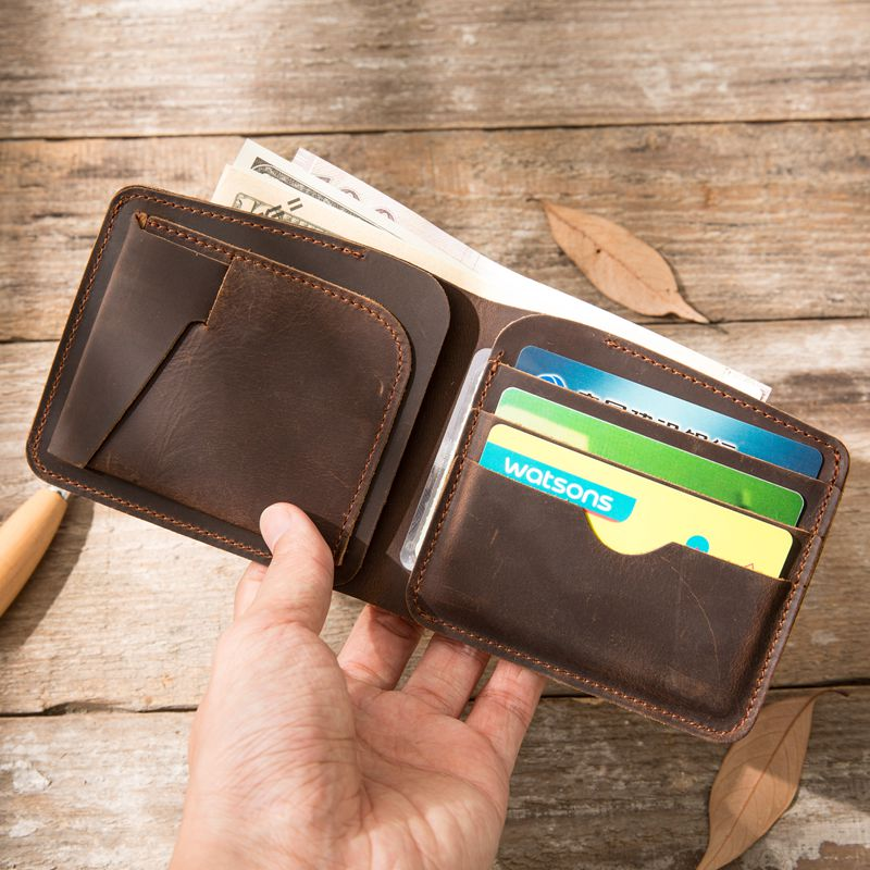 Genuine Leather wallet male crazy horse slim wallet for credit cards designer purse money male clutch short perse portomonee men wallet male cowhide genuine leather purse money clutch card holder coin short crazy horse photo fashion 2017 male wallets