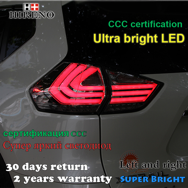 Hireno Tail Lamp for Nissan X-Trail 2014 2015 2016 Taillight Rear Lamp Parking Brake Turn Signal Lights car styling tail lights for toyota highlander 2015 led tail lamp rear trunk lamp cover drl signal brake reverse