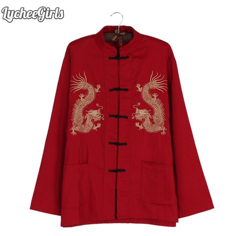 LycheeGirls Style chinois femmes Blouse Dragon broderie bouton col montant décontracté manches longues chemise hauts F