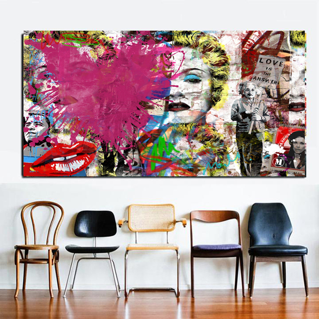 Love Answer Abstract Graffiti Canvas Painting Poster Prints Europe Pop Wall Art Pictures Living Room