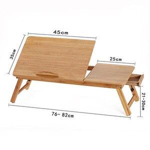 Image 5 - Magic Union Draagbare Folding Bamboe Laptop Tafel Sofa Bed Thuis Laptop Stand Computer Notebook Bureau Bed Eettafel Plus Size