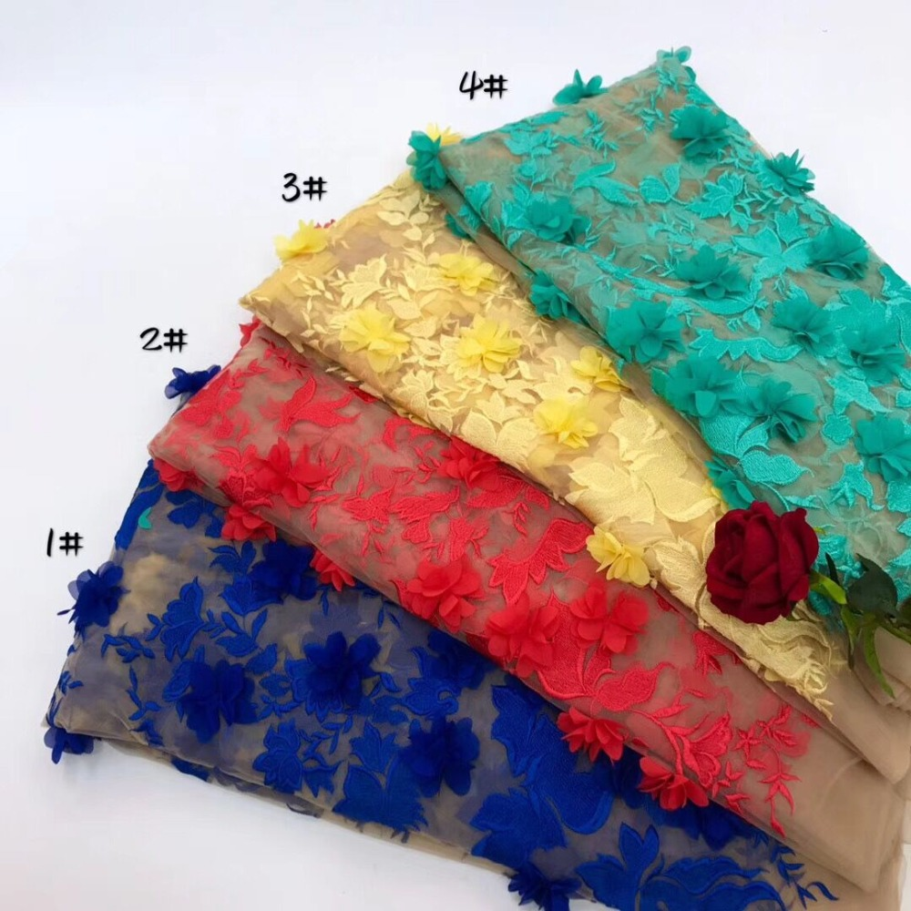 Beautiful 3D Flower Lace Fabric With Blossom Blue Red Yellow Green Color For Prom Dress, Costume Design
