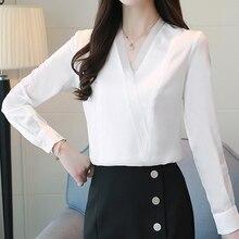 Women Shirts Chiffon Blouse Blusas Mujer De Moda 2018 Office Lady White for Long Sleeve Plus Size Tops