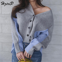 HziriP 2018 Autumn Korea Chic Casual Office Women Slim Shirt V Neck Long Sleeve Spliced Striped Tops Elegant Ladies Blouse