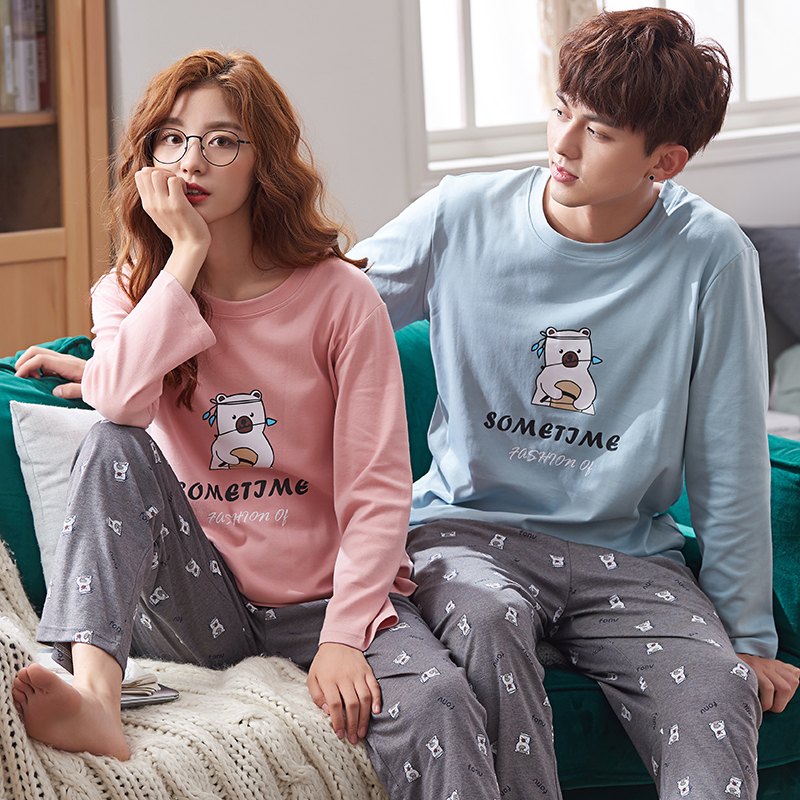 Matching Couple Pajama Set Cotton Pajamas Long Sleeve Sleepwear His-and-her Home Suit Pyjama For Lover Man Woman Lovers Clothes Men's Pajama Sets