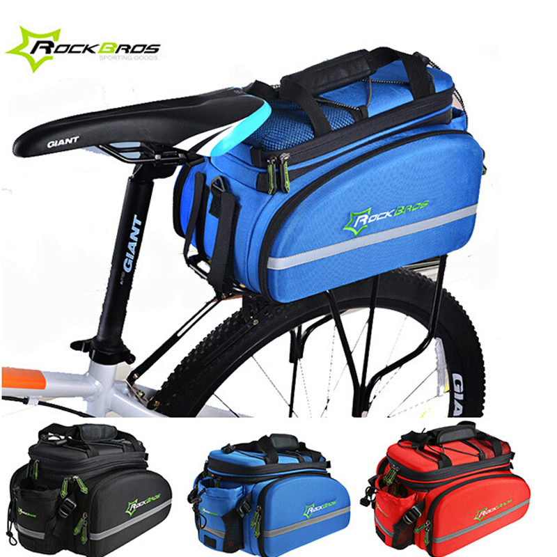 Rockbros Bike Bag Waterproof Bicycle Trunk Cycling Rear Rack Bag Back Saddle Seat Pack Shoulders Bag Handbag Bike Accessories roswheel mtb bike bag 10l full waterproof bicycle saddle bag mountain bike rear seat bag cycling tail bag bicycle accessories