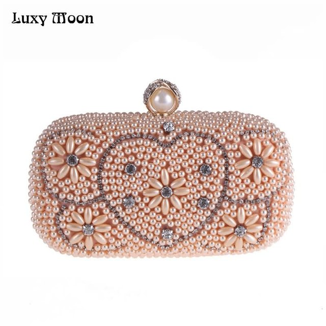 Luxy Moon Evening Bags Pearl Diamond Beaded Women s Purse Wedding Wallet  Tote Heart Flap Clutch Shoulder Bags with Chain ZD819