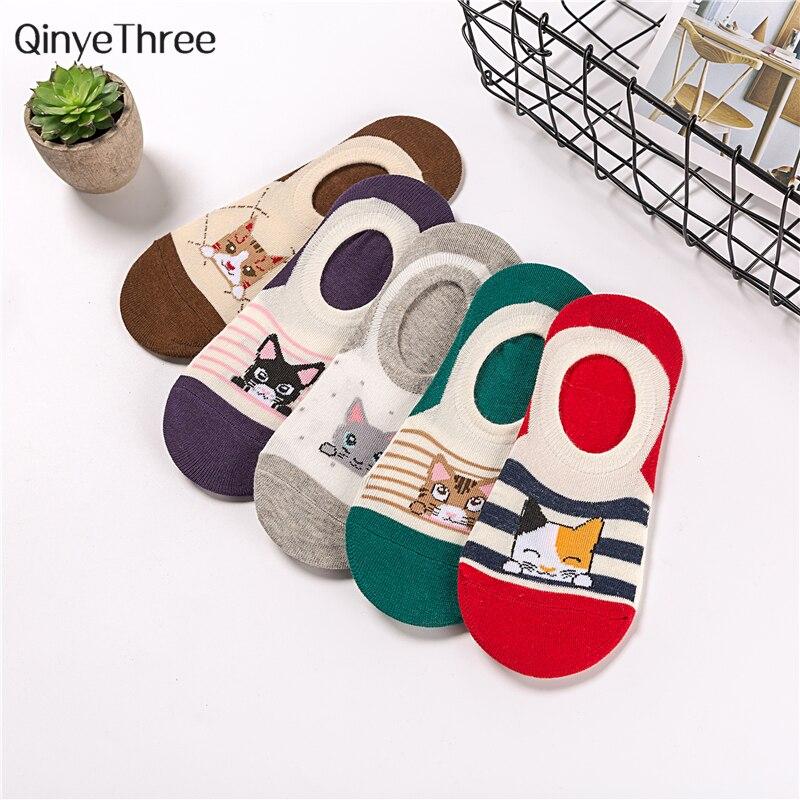 Girls Cartoon Cute Short   Socks   Women Harajuku Lovely Hipster Funny Cat Stripes Dot Geometry Sokken Kwakii kitten love 1pair=2pcs