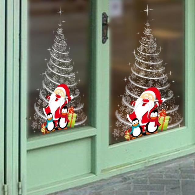christmas wall stickers diy shop windowdoor wall decoaration glass paste christmas decoration for - Window And Door Christmas Decorations