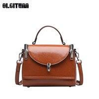 Женские Модные сумка Новый стиль Леди Сумки из натуральной масла Воск кожа Сумка сплошной Цвет Сумки hb838