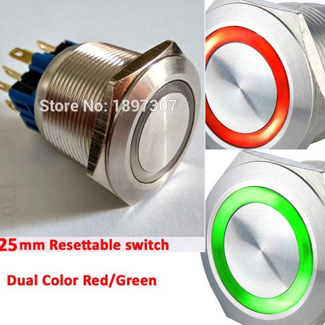 Interrupteur à bouton de pression double couleur   25mm 6V 12V 24V, double couleur, rouge/vert, momentané, 2no2nc, bouton de pression réinitialisable, pour voiture en métal, avec anneau, interrupteur reconfigurable
