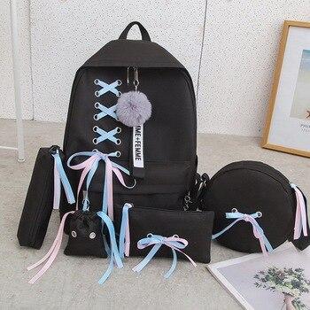 5pcs/set Women Backpack Teenager Girls Chain USB Bags Women Canvas Backpacks Shoulder Bag Female Student School Bags Tassel