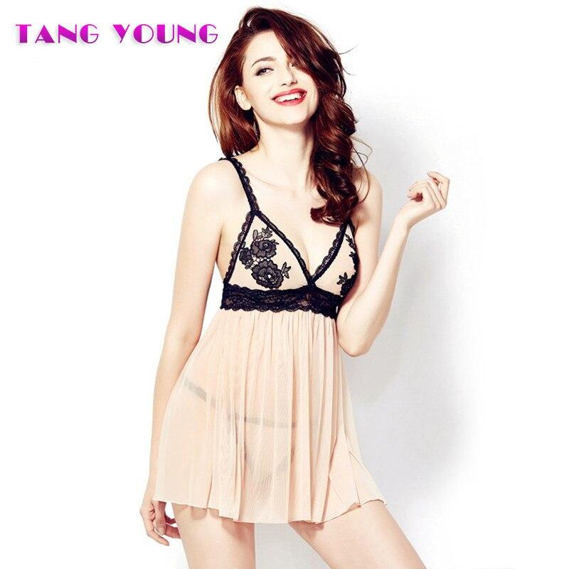 Newest Women Sexy Transparent Pajamas Set Embroidery Sling Sleep Skirt Female Home Wear Strap Pajama Set HA0338