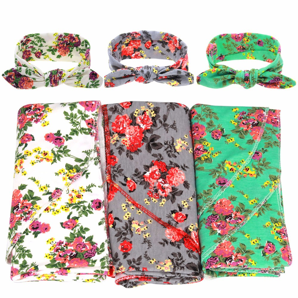 Newborn Receiving Blankets Cotton Warm Blanket Flower Headband Sets Photography Props Baby Swaddle Bedding Suit Baby Accessories (1)