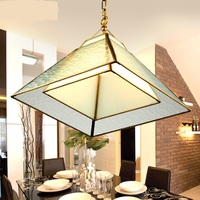 American restaurant small simple study European style all copper creative square glass lighting Pendant Lights LO7129 YM