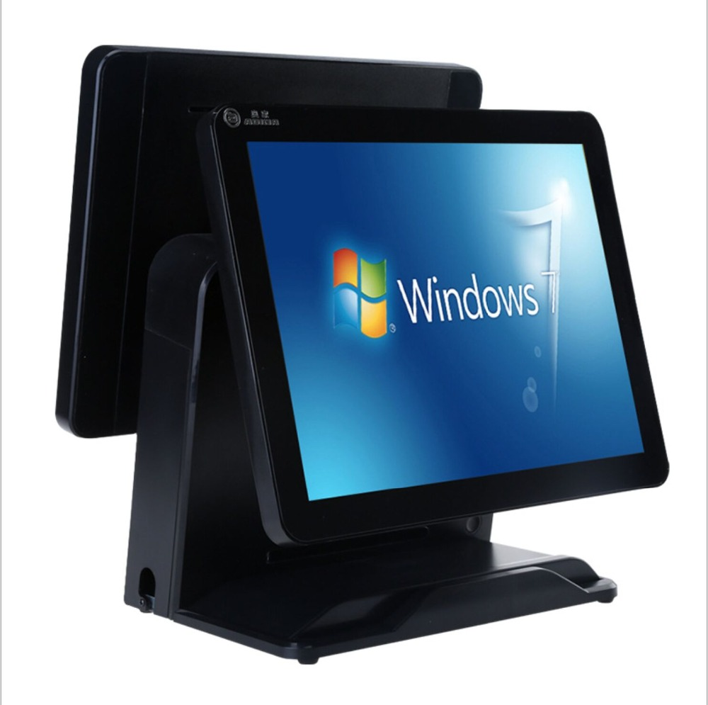 Double Screen For Restaurant Cash Register 15 Inch Pos Touch All In One Pc