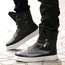 De los hombres de la moda botas martin botas cremallera alta arriba  zapatillas de deporte Hip Hop zapatos casuales de cuero zapa. ae28a96cbc0