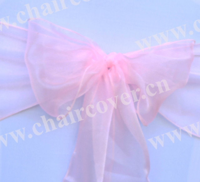 sale- Free shipping 3513 peppermint pink 50pcs new sparkle organza chair sashes wedding party banquet decoration