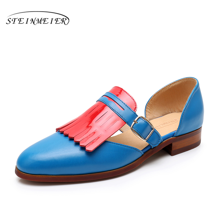 Women sandals oxford shoes Yinzo vintage genuine leather blue flat gladiator oxfords summer sandals for women shoes 2019