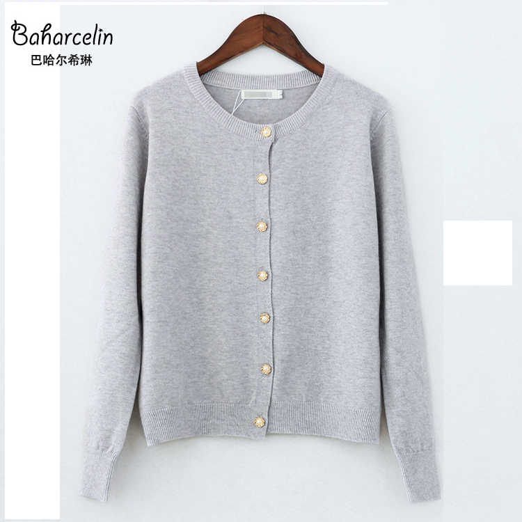 Baharcelin 3XL 4XL grande taille femmes fille automne hiver Cardigans manches longues tricots col rond basique tricots hauts