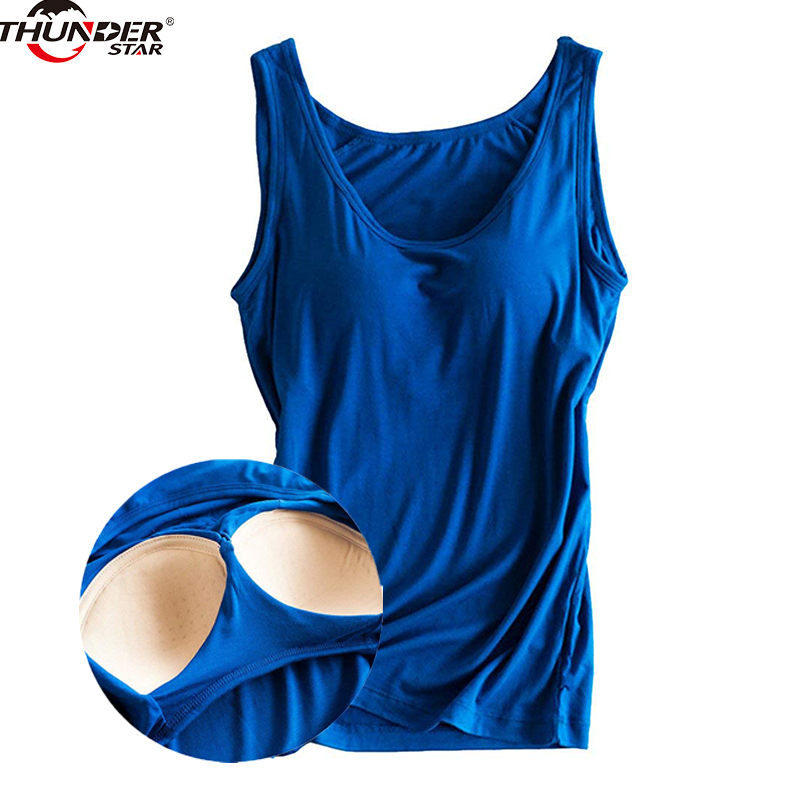 Women Built In Bra Padded Tank Top Female Modal Breathable Fitness Camisole Tops Solid Push Up Bra Vest Blusas Femininas