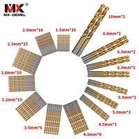 MX DEMEL 99pcs Set Twist Drill Bit Set Saw Set HSS High Steel Titanium Coated Drill