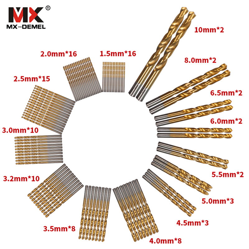 MX-DEMEL 99pcs/Set Twist Drill Bit Set Saw Set HSS High Steel Titanium Coated Drill Woodworking Wood Tool 1.5-10mm For Metal 98pcs set 1 5 10mm high speed steel titanium coated cobalt hss co steel twist drill bit set power tools wood metal drilling